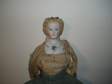 Untinted bisque shoulder-head doll