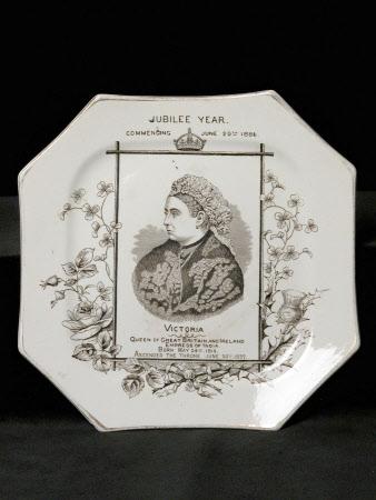 Octagonal Plate to commemorate the Golden Jubilee of Queen Victoria (1819-1901)