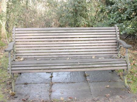 A pair of hardwood and cast iron garden benches, English, circa 1900-1950
