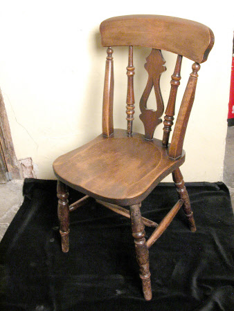 A pair of birch kitchen chairs, English, circa 1880