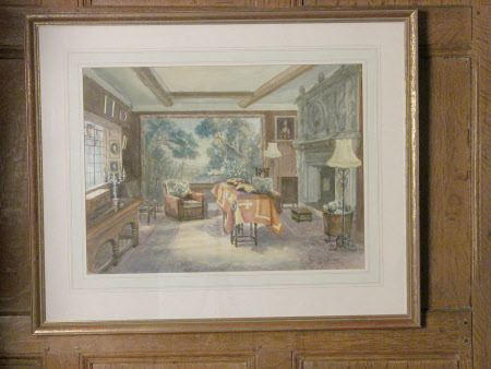The lying in state of the last Lord of the Manor, Thomas Ferrers (formerly Walker) (1887-1970 ), in ...