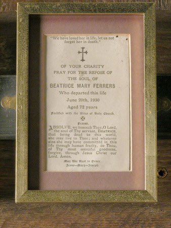 Funeral notice of The Hon. Beatrice Mary Petre, Mrs Henry Ferrers Ferrers (1858-1930)