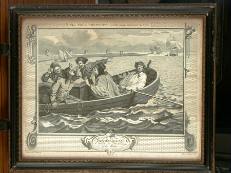 Industry and Idleness - Plate 5. The Idle 'Prentice, turned away and sent to Sea. Proverbs 10 verse ...