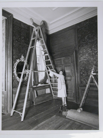 David and Freda Pegler Spring cleaning in the East Hall, Dyrham Park, Gloucestershire: February 1987