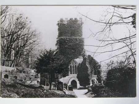 Church external, tower covered in ivy