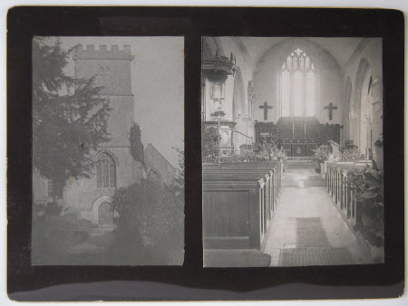 Exterior and interior view of Parish church of St Peter, Dyrham, Gloucestershire
