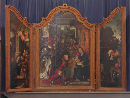 The Dyrham Triptych (The Nativity by Night with Shepherds, The Adoration of the Magi and The Flight ...