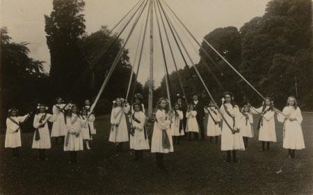 Village school children: maypole dancing, Dyrham School, Gloucestershire