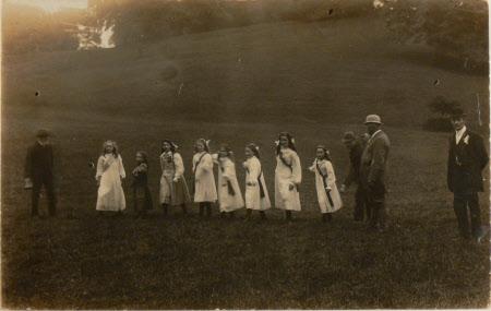 Village school children waiting to start a race, Dyrham Park, Gloucestershire