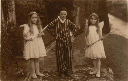 Village school children dressed in costumes, Dyrham School, Gloucestershire