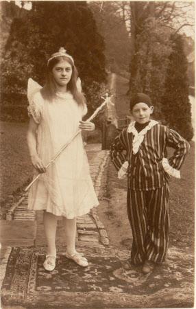 Two unknown Village school children dressed in costumes, Dyrham School, Gloucestershire