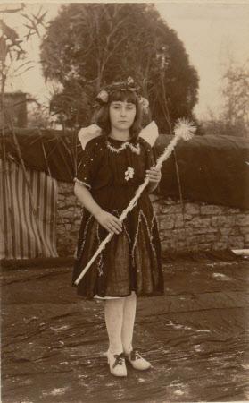 Unknown village schoolgirl dressed as a fairy, Dyrham School, Gloucestershire