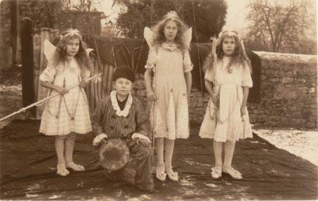 Unknown village schoolchildren dressed in costume, Dyrham School, Gloucestershire
