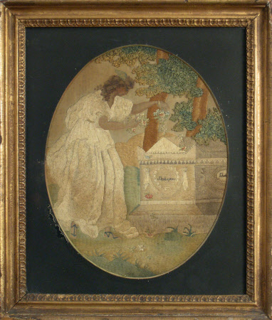 Embroidered and painted picture on silk showing one of the Muses placing flowers on William ...