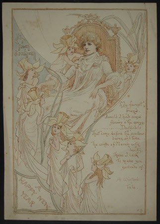 'A Happy New Year' Card for Ellen Terry (1847-1928)