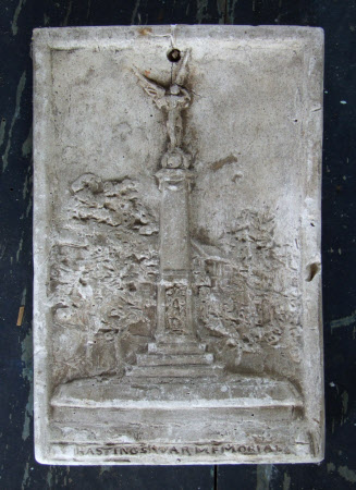 Relief plaque of the Hastings War Memorial designed by Margaret Winser, situated in Alexander Park, ...