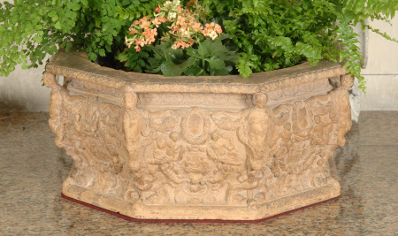 Octagon Terracotta Jardiniere, with Metal Liner Modelled on a Bronze Well-head in the Courtyard of ...