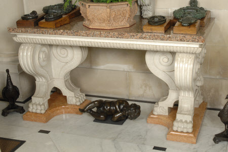 Oriental Red Granite Tables with White Marble supports