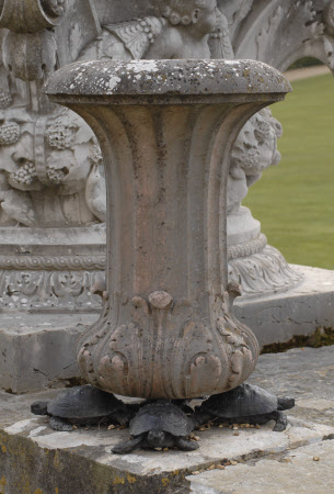 One of Four Verona Marble 'Ipright Vases', each supported by four Bronze Tortoises