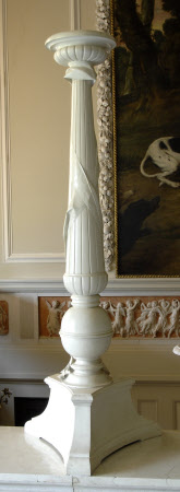 One of two candelabra carved in Biancone marble (designed by William John Bankes MP)