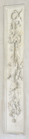 Carved Marble Panel depicting a Garland of Birds