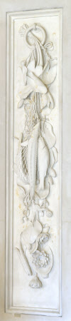 Carved Marble Panel depicting a Garland of Fish