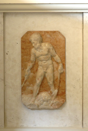 White marble relief of Neptune riding on a Fish