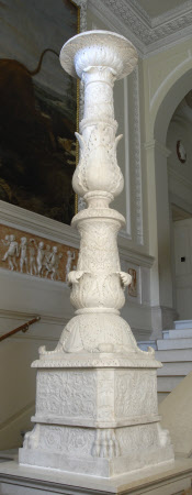 Copy of a Roman Marble Candelabrum with Ornate Acanthus Decoration, the Rectangular base with ...