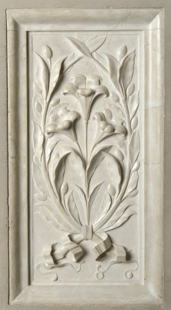 Carved marble panel depicting Lillies