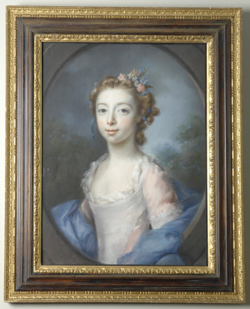 Young Girl in a Pink Dress with a Blue Mantle