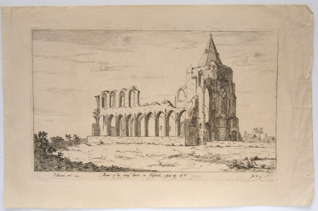 The ruins of Coyland Abbey, Lincolnshire, from the south west (after Thomas Kerrich)