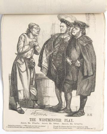 'The Westminster Play' - Benjamin Disraeli, 1st Earl of Beaconsfield (1804-1881) as Shylock, John ...