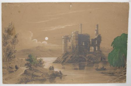 A Moonlit Castle Ruin on a Lake