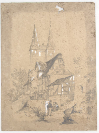 A timbered house with a church in the background 'BOP[....] Rhine'