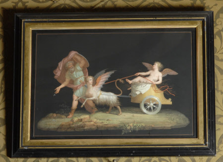 Cupid in a Chariot drawn by a Chimaera with Attendant
