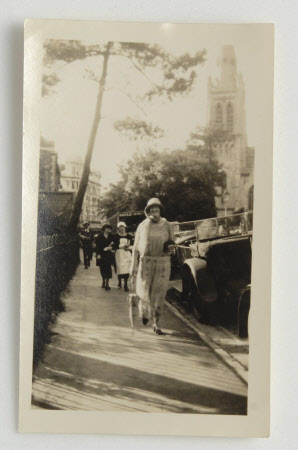 Daphne Maud Adelaide Bankes (1898-1967), walking in possibly Hinton Road, Bournemouth, old Beales ...