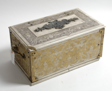 Incised Carrara Marble Casket on a Gilt Ground with Ormolu Angles and Handles (in the stye of Jean ...