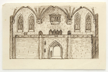 Probable designs for the gateway with portcullis and oriel window above for a reconstruction of ...