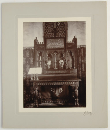 View of the altar in the church depicted in CMS.1251624
