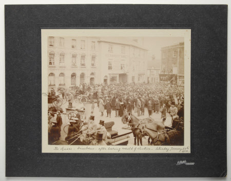Crowd in the Square, Wimborne, after hearing the result of election, Saturday January 26, 1906 ...