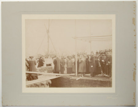 Henrietta Jenny Fraser, Mrs Walter Ralph Bankes (1871-1953) laying the foundation stone for St. ...