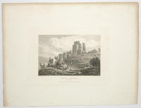 Corfe Castle, Dorset: 1825 (after Frederick Wilton Litchfield Stockdale)