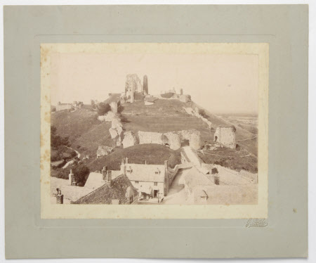 View of Corfe Castle, Dorset, from the top of the church tower, with a view of the drawbridge and ...