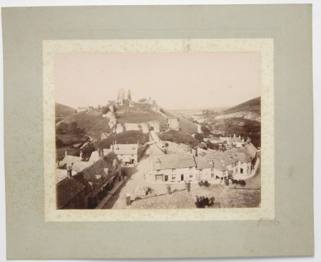 View of Corfe Castle, Dorset, and village square from the top of the church tower, prior to 1897
