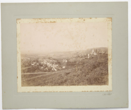 View of Corfe Castle, Dorset, from above the railway and including a view of the village prior to ...
