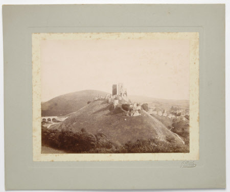 View of Corfe Castle, Dorset, from the top of a hill to the west:  prior to 1897