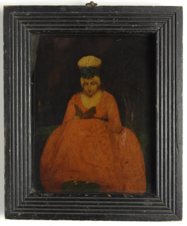 A Young Woman in a Red Dress Reading