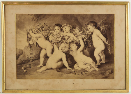 Putti with garland of fruit