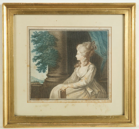 Seated lady holding a book