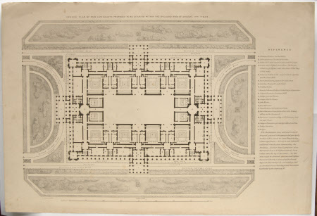 Scale drawing of New Law Courts proposed to be situated within the enclosed area of Lincoln's Inn ...